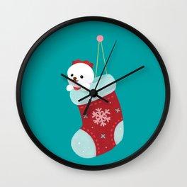Christmas bichon frise 3 Wall Clock