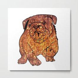 Gold Bulldog Fenc Buldog Metal Print