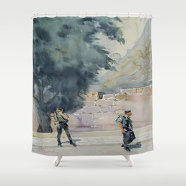 By the Ancient Walls of Jerusalem Shower Curtain
