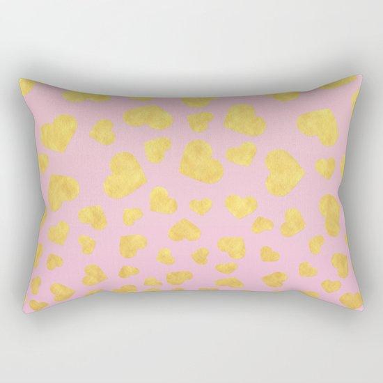 Golden hearts falling from heaven- Gold glitter heart on pink Rectangular Pillow