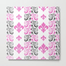 Fluer de Lis Custom Pink Metal Print