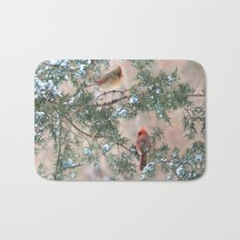 Winter Pair Cardinals (sq) Bath Mat
