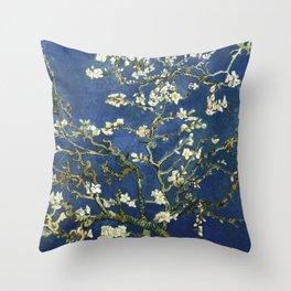 Almond Blossom - Vincent Van Gogh (dark blue) Throw Pillow