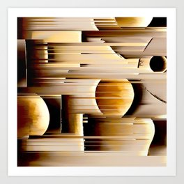 earth abstract geometrical striped pattern Art Print