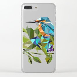 Common Kingfisher (halcyon) in Triangles Clear iPhone Case