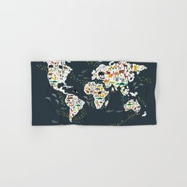 Cartoon animal world map for children, kids, Animals from all over the world, back to school, gray Hand & Bath Towel
