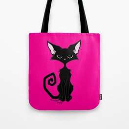 Black Cat - Hot Pink Tote Bag