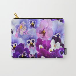 GREY VARIEGATED SPRING COLLECTION  PANSIES Carry-All Pouch