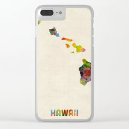 Hawaii Watercolor Map Clear iPhone Case