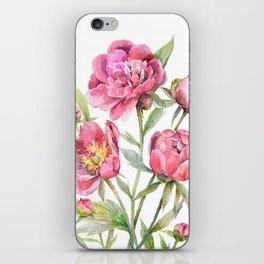 Peonies Watercolor Florals Botanical Design iPhone Skin