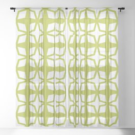 Mid Century Modern Star Pattern Chartreuse 552 Sheer Curtain