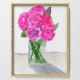 Peonies in a Vase Serving Tray