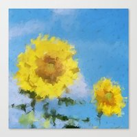 sunflowers Canvas Prints featuring Sunflowers by Paul Kimble