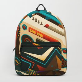 Bust Out The Jams Retro 80s Boombox Splash Backpack