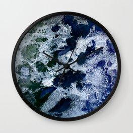 Oceans - Encaustic painting (blue, green, silver) Wall Clock