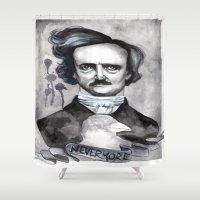 edgar allan poe Shower Curtains featuring Edgar Allan Poe by JsuauG