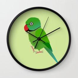 Cute Indian ringneck parakeet Wall Clock