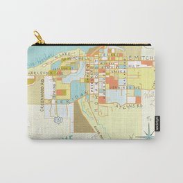 Illustrated Map of Petoskey, Michigan Carry-All Pouch