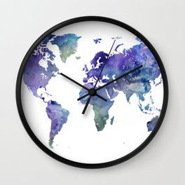 Watercolor World Map Silhouette Wall Clock