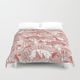 chinoiserie toile red Duvet Cover