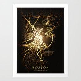 boston usa city night light map Art Print