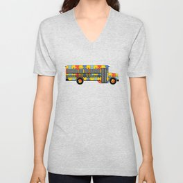 Autism Awareness School Bus Unisex V-Neck