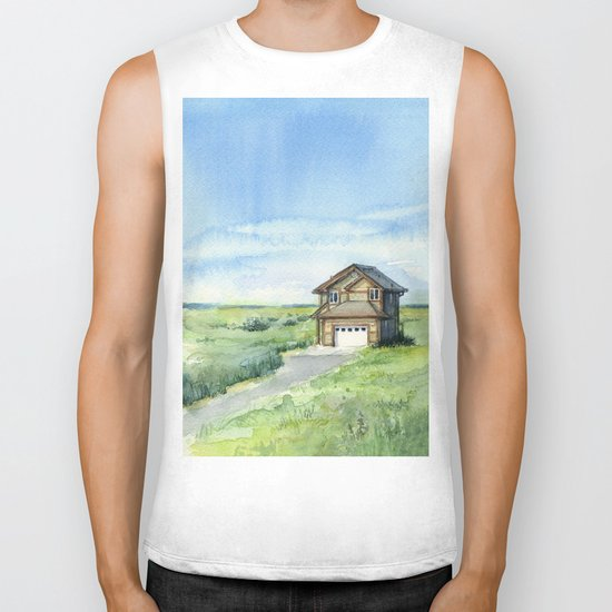 Beach House Landscape Watercolor | Long Beach, WA Biker Tank