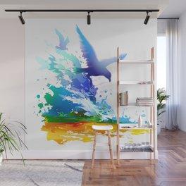 Birds flying. Sea, ocean waves. Gulls, colorful watercolor realistic panting. Blue water.. Wall Mural