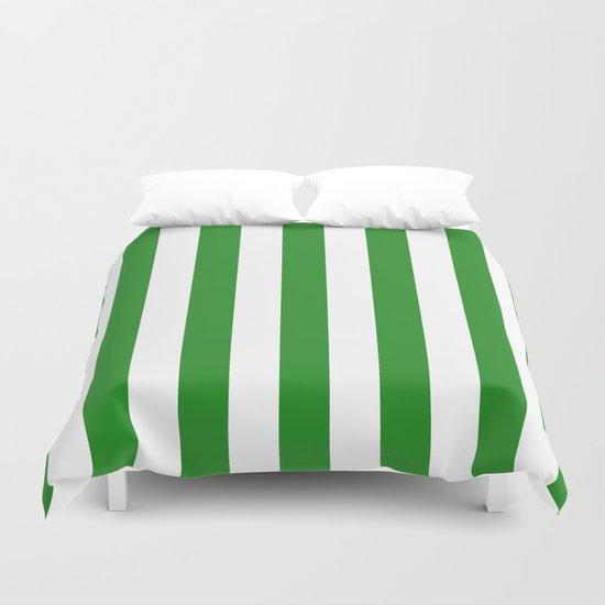 Vertical Stripes (Forest Green/White) Duvet Cover