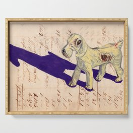 Vintage Celluloid Fox Terrier in Gouache Serving Tray