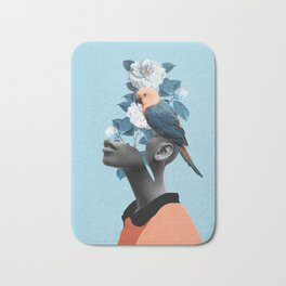 Girl with parrot Bath Mat