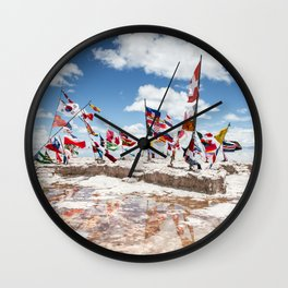 Salar de Uyuni International Flags Wall Clock