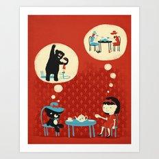 Tea Party with Mr. Cuddles Art Print