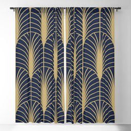 Arches in Navy and Gold Blackout Curtain