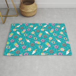 Sweet Treats Pool Floats Pattern – Turquoise Rug