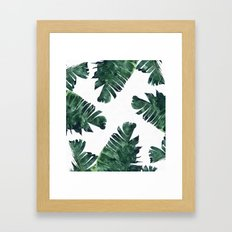Banana Leaf Watercolor Pattern #society6 Framed Art Print