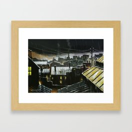 Rainy night in the factories Framed Art Print
