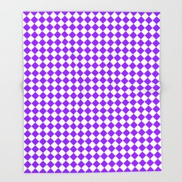 Small Diamonds - White and Violet Throw Blanket