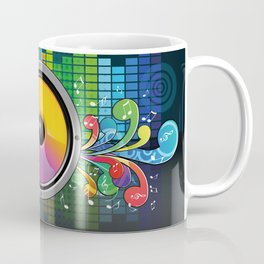 Colorful equalizer and music speakers illustration Coffee Mug