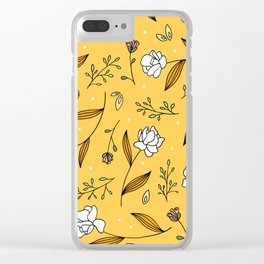 Gold Floral Clear iPhone Case