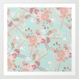 Vintage green pastel coral white rustic floral Art Print