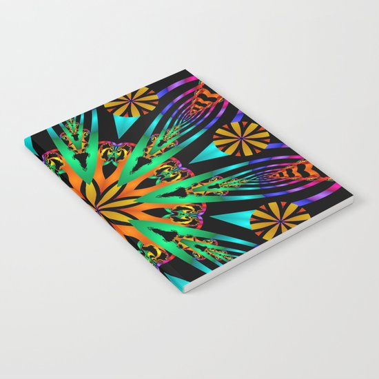 Colourful fantasy flower with tribal patterns Notebook