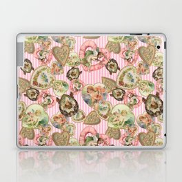 Victorian Romantic  Heart Frames Toss in Vintage Pink + White Striped Paper Laptop & iPad Skin