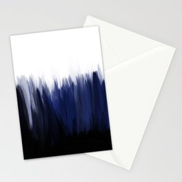 Modern blue cobalt black oil paint brushstrokes abstract Stationery Cards