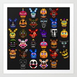 FNAF pixel art Art Print