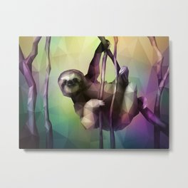 Sloth (Low Poly Multi) Metal Print