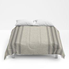 Farmhouse linen grey rustic grain sack texture vintage farmhouse lined linen design modern rustic Comforters