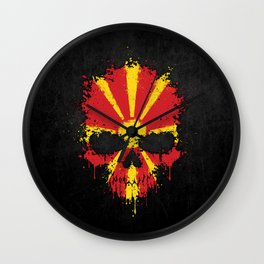 Flag of Macedonia on a Chaotic Splatter Skull Wall Clock