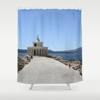 lighthouse Shower Curtains featuring Lighthouse by L'Ale shop