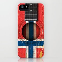Old Vintage Acoustic Guitar with Norwegian Flag iPhone Case